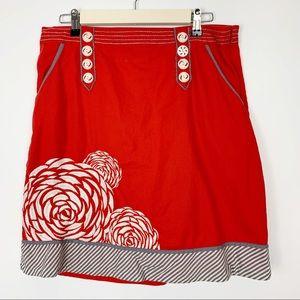 Anthropologie Floreat salmon skirt embroidered 10